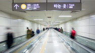 Stock Video Footage of Commuters on escalator, Subway, Seoul, South Korea