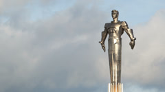 Time lapse of clouds running behind Yuri Gagarin monument. Stock Footage