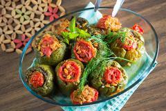 turkish stuffed green pepper dolma's - stock photo