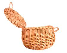 Vintage weave wicker basket isolated Stock Photos