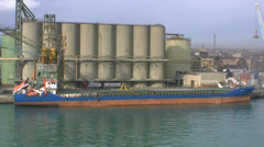 Port facility fast pan Stock Footage