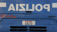 POLIZIA on Italian IVECO coach Stock Footage