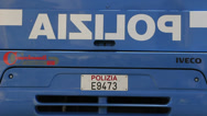 Stock Video Footage of POLIZIA on Italian IVECO coach