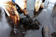 Stock Photo of clean up crude oil stain