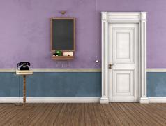 vintage home entrance - stock illustration