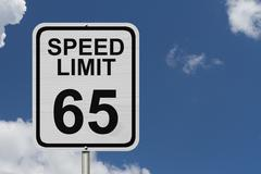 Speed limit 65 sign Stock Photos