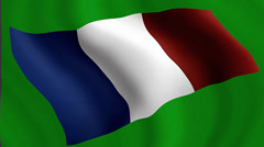 French flag on a green background. Stock Footage