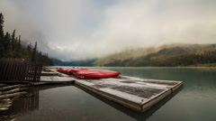 Cloudy morning at Lake Louise by the dock - stock footage