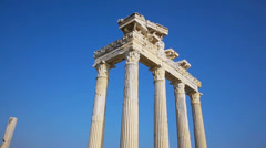 Temple of Apollo ruins' columns in Side Stock Footage