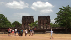 A crowd of tourists in the Polonnaruwa ancient city. Sri Lanka. Stock Footage