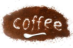 "the word ""coffee"" from instant coffee granules - stock photo"