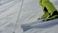Stock Video Footage of close up skiing in short swings