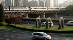 The traffic in Second Ring is pretty light, Beijing, China Stock Footage