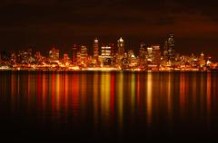 seattle skyline reflected - stock photo