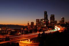Cityscape and freeways Stock Photos