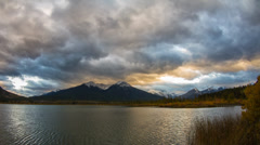 Cloudy Vermillion Lakes at Sunset time Stock Footage