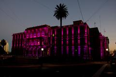 Night view of presidential palace,casa rosada,pink house in buenos aires, arg Stock Photos