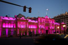 night view of presidential palace,casa rosada,pink house in buenos aires, arg - stock photo