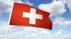 Flag Switzerland 02 Stock Footage