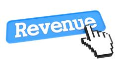 Revenue Button with Hand Cursor. Stock Illustration