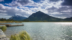 Cloudy day at Vermillion Lakes by the dock Stock Footage