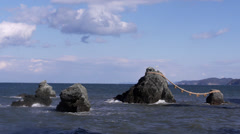 Meoto Iwa, the Married Rocks Stock Footage