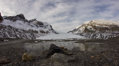 Morning clouds at Athabasca Glacier Stock Footage