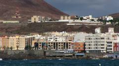 Spain - Gran Canaria - Las Palmas seen from the city beach Stock Footage