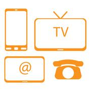 Tv gsm internet telephone - stock illustration