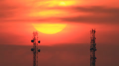 Sun disk between two tower Stock Footage