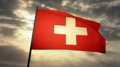 Flag Switzerland 03 Stock Footage