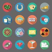 Casino flat icons set Stock Illustration