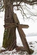 weathered crucifix - stock photo