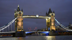 Tower bridge in london night view, london, united kingdom Stock Footage