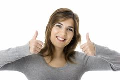 optimistic woman - stock photo