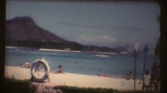 Vintage Waikiki beach and Diamond head Stock Footage