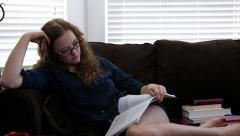 College Girl Studying - stock footage