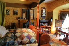 19th xix century upper class restored historic heritage house master bedroom - stock photo