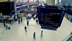 london,  top view timelapse of commuters inside waterloo railway station - stock footage
