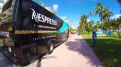 Miami Beach tour bus Stock Footage