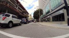 Person skating through Downtown Miami Stock Footage