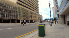 Skaters point of view of Downtown Miami Stock Footage