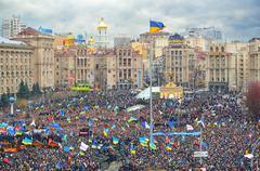 strike on the independence square in kiev - stock photo