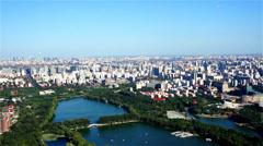 A bird view of Yuyuantan Park,Beijing,China Stock Footage