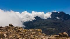 Landscape and Cloud Pan Timelapse at La Reunion, Le Grand Bénare 06 Stock Footage