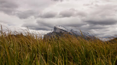 Dolly shot of Mt. Rundle at Vermillion Lakes - stock footage