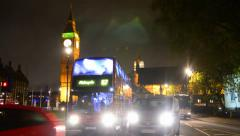 Trafic jam near london westminister house of parlament at parlament square Stock Footage