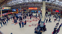 london top view timelapse of commuters inside victoria railway station - stock footage