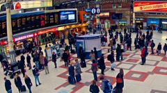london, top view timelapse of commuters inside victoria railway station - stock footage