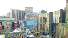 Stock Video Footage of 5 Pointz in New York City NYC Graffiti Ghetto Queens Subway Moving Art Hip Hop